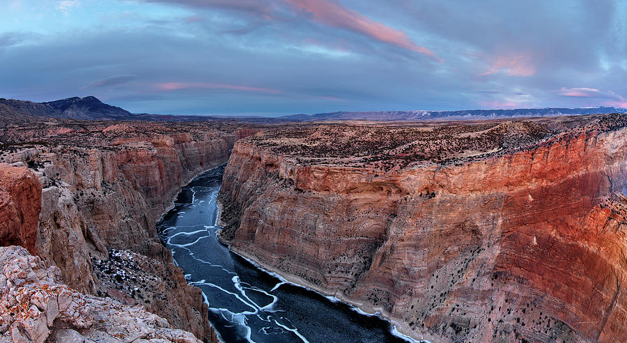 Big Horn Canyon Photograph - Bighorn River Winter Sunset by Leland D Howard