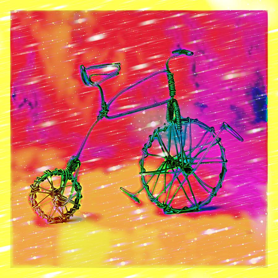 Framed Pyrography - Bike 1a by Mauro Celotti