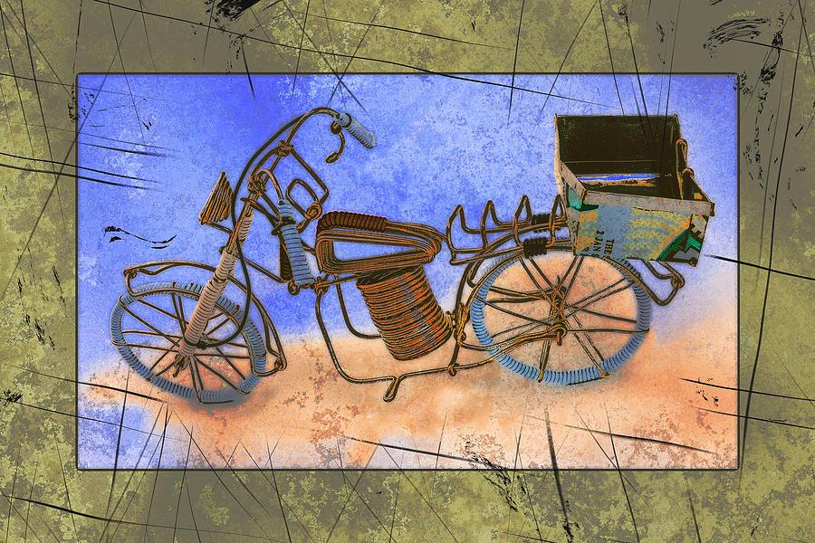 Framed Pyrography - Bike 2a by Mauro Celotti