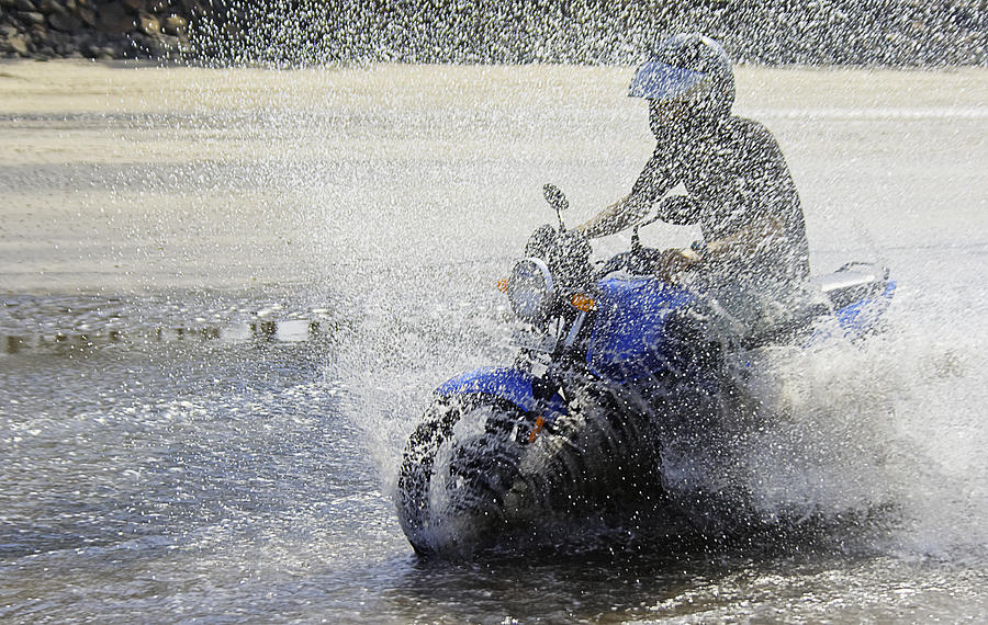 Interesting Photograph - Biker  Making A Splash by Kantilal Patel