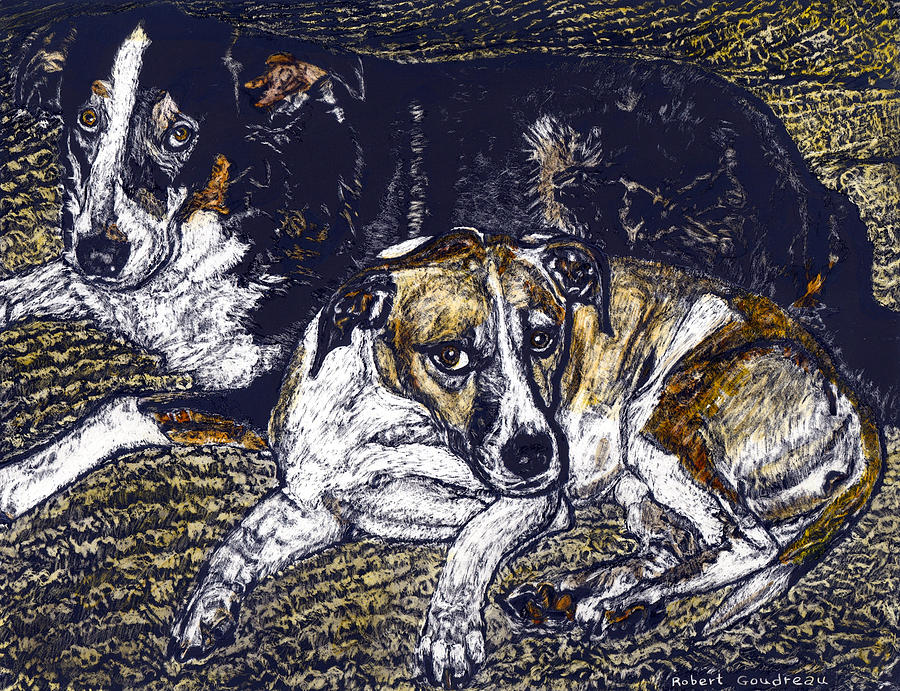Dogs Painting - Bill and April Dog Pals by Robert Goudreau