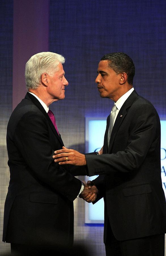 Bill Clinton Photograph - Bill Clinton, Barack Obama At A Public by Everett