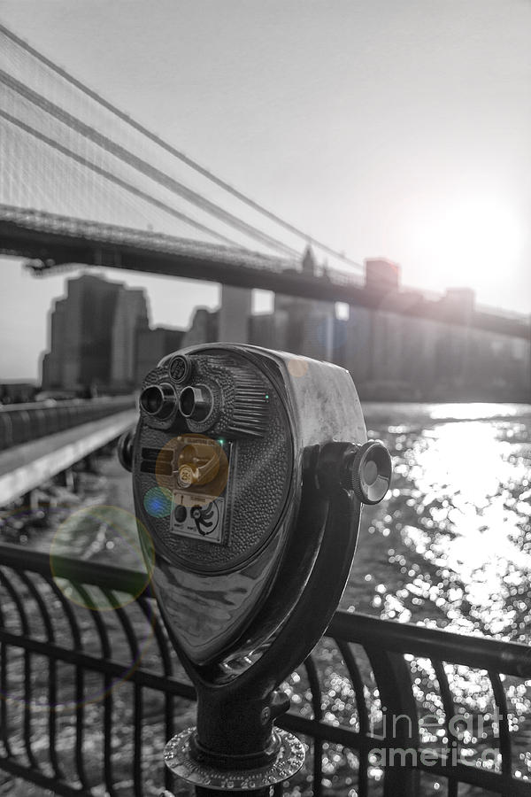 Black And White Photograph - Binoculars Nyc View by AHcreatrix