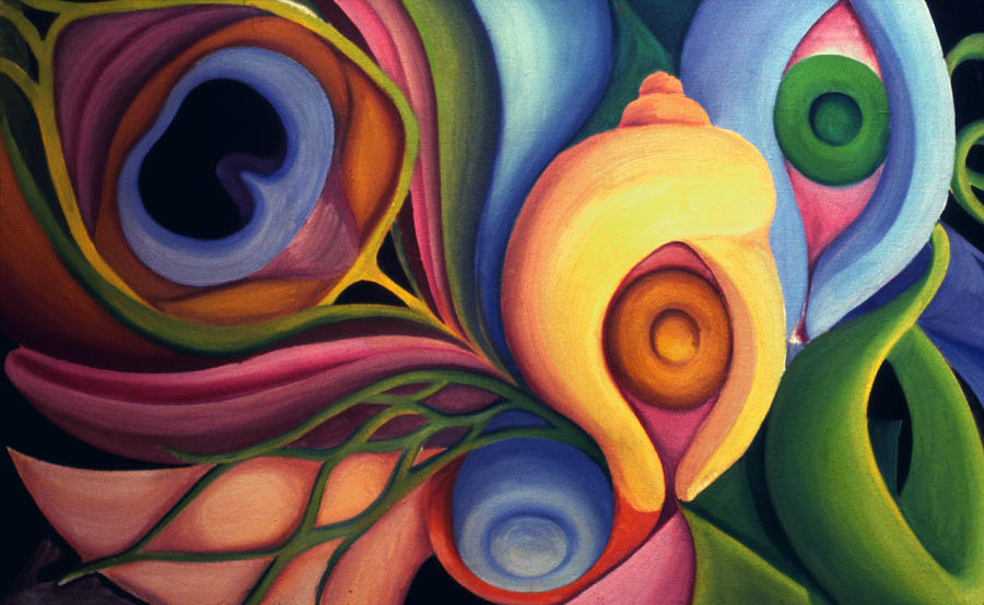 Biomorphic shapes 1977 painting by nancy griswold for Artists who use shapes in their paintings