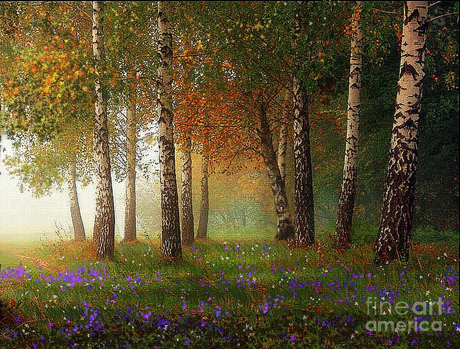 Birch Painting - Birch Meadow by Robert Foster