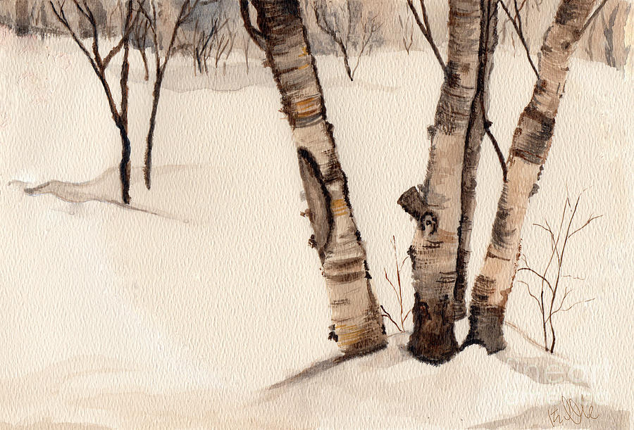 Birch Trees Painting - Birch Trees In The Snow by Barb Kirpluk
