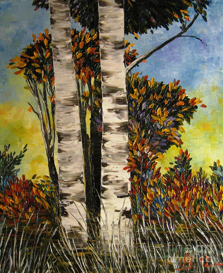 Birches Painting - Birches For My Friend by AmaS Art