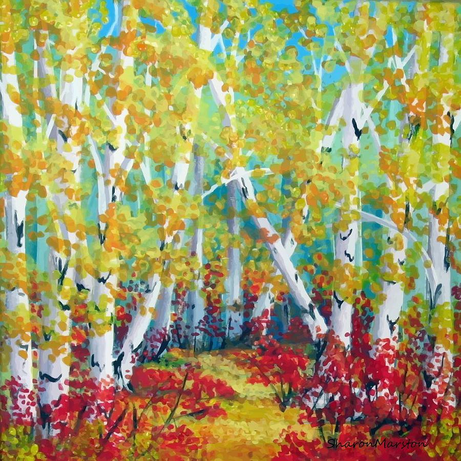 Autumn Painting - Birches In Autumn by Sharon Marcella Marston