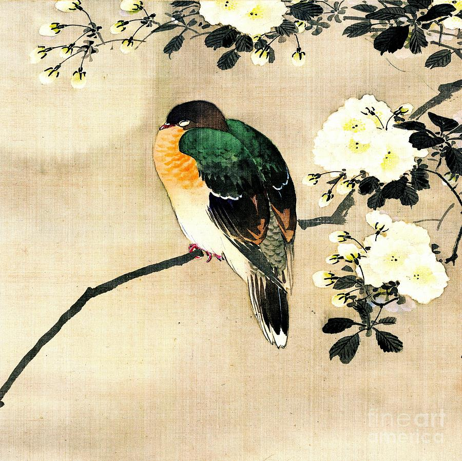 Bird And Blossoms Under Full Moon 1850 Green Photograph by Padre Art