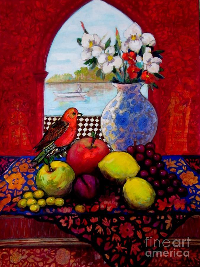 Fruits Painting - Bird And Stil Life by Marilene Sawaf