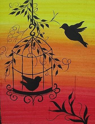 Bird Cage Silhouette Painting by Archana Kari