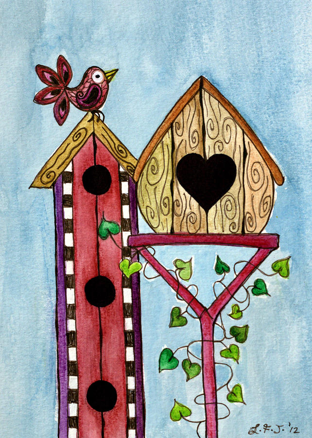 Bird Painting - Bird House by Lisa Frances Judd
