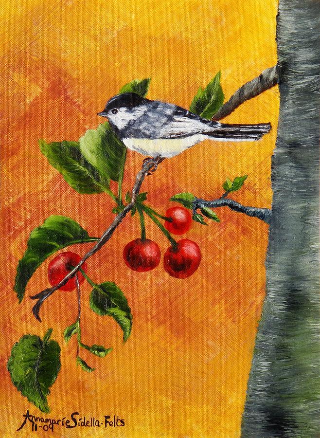 Bird Painting - Bird In Chery Tree by Annamarie Sidella-Felts