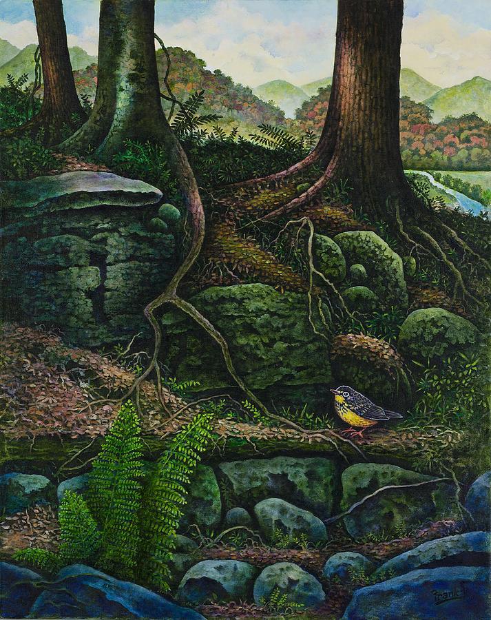 Bird Painting - Bird In Paradise Vii by Michael Frank