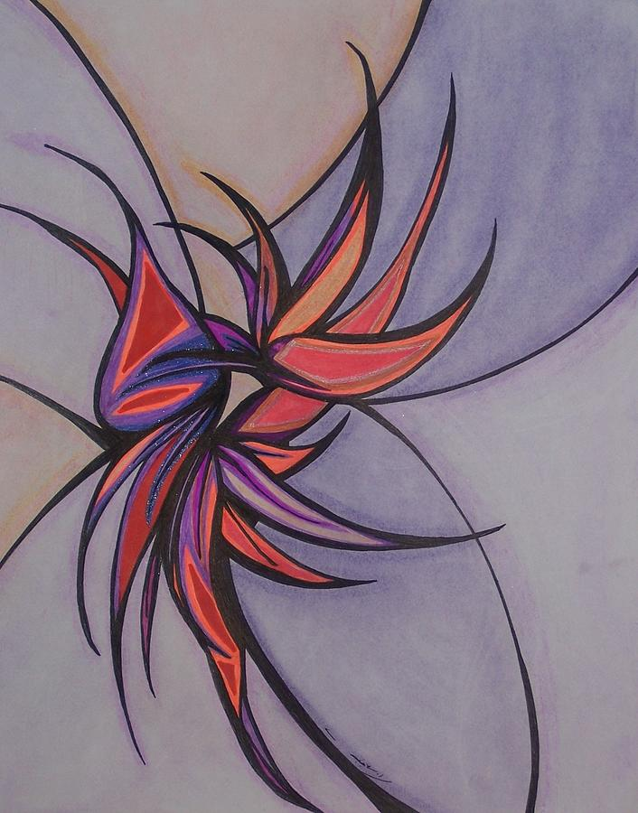 Abstract Drawing - Bird Of Paradise by Tara Francoise