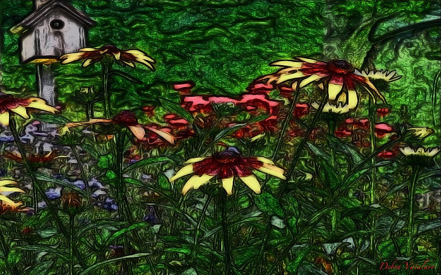 Spring Landscape Drawing - Birdhouse Garden by Debra     Vatalaro