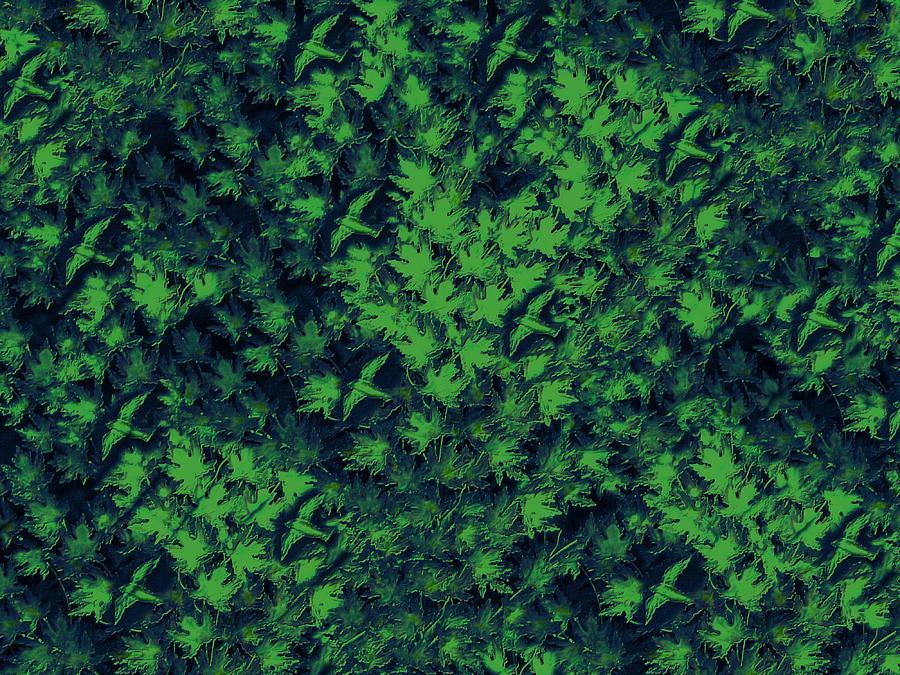 Abstract Digital Art - Birds In Green by David Dehner