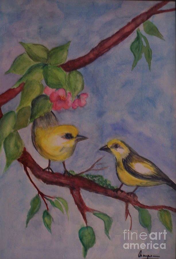 Birds In Water Color Painting By Anu Darbha