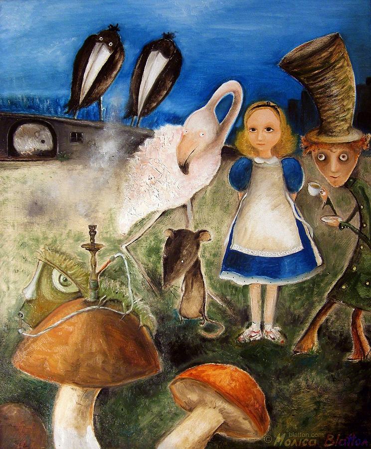 Oil Painting - Birds Migration In Wonderland by Monica Blatton