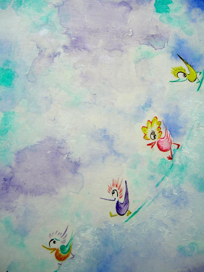Fun Painting - Birds On The Clouds  by Asida Cheng