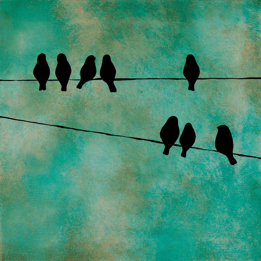 Birds On Wire Painting by Jodi Leigh