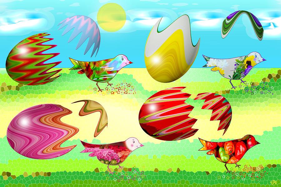 Birds Digital Art - Birds by Victoria Regueira