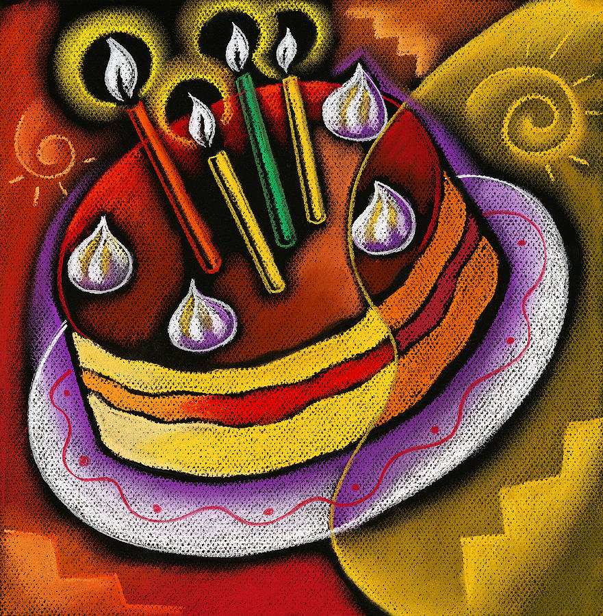 Birthday Cake Painting by Leon Zernitsky