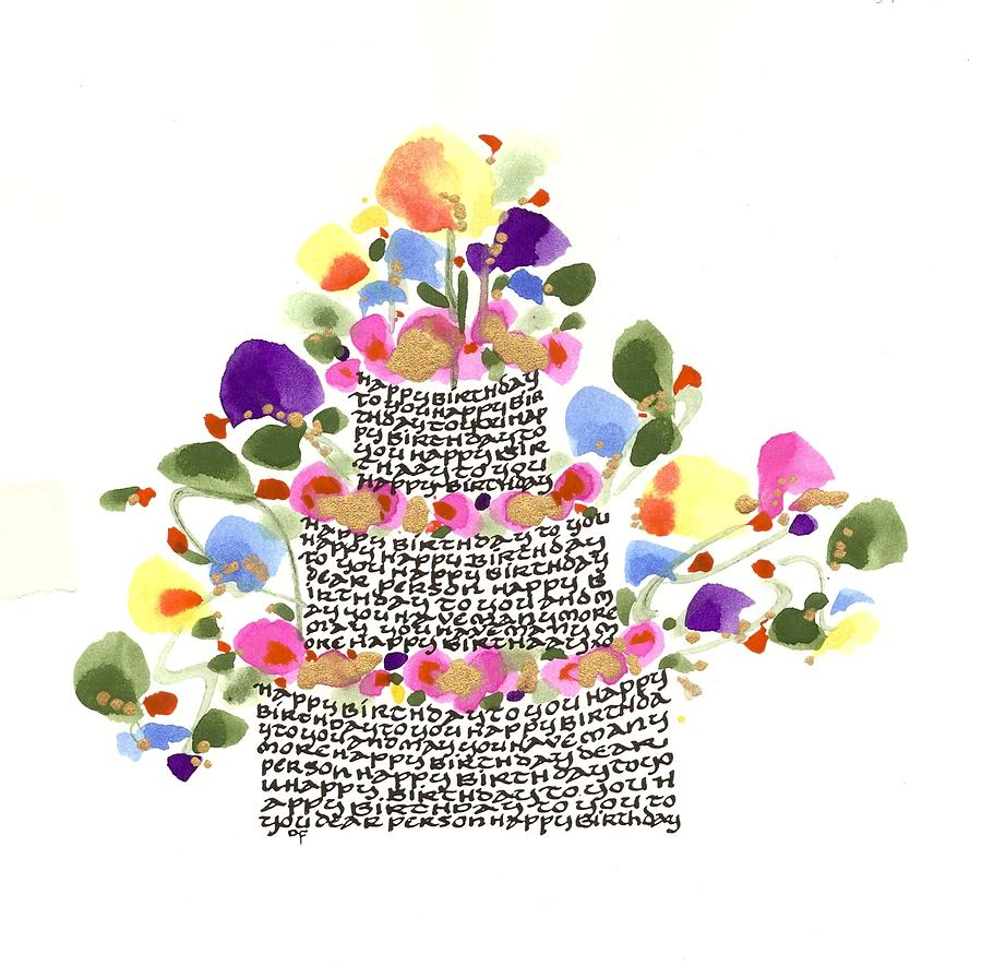 Birthday Cake With Flowers And Words Drawing By Darlene Flood