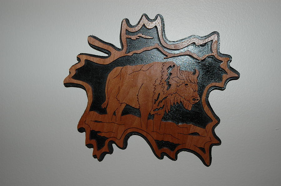 Bison Mixed Media - Bison Forest Leaf by Amy Burke