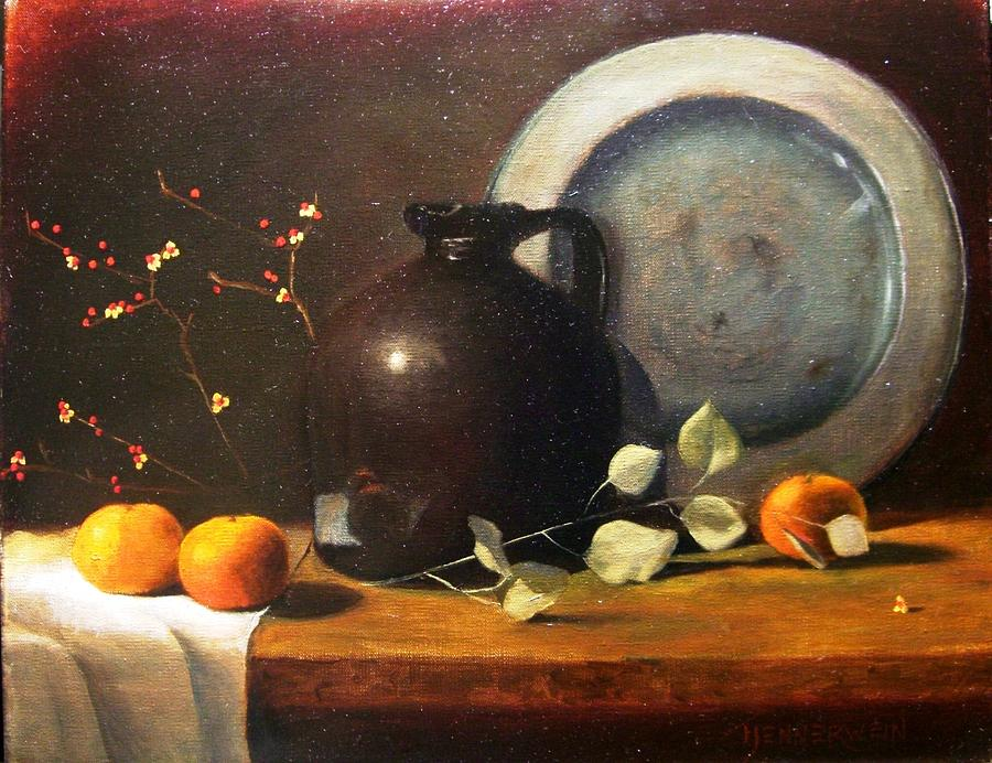 Still Life Painting - Bittersweet And Molasses Jug by Tom Jennerwein