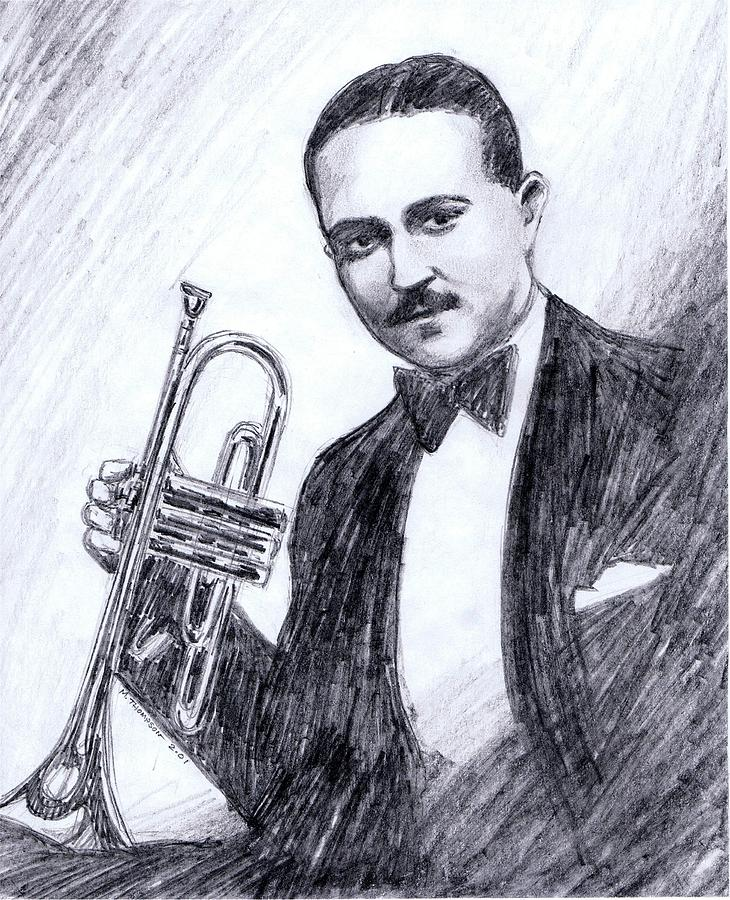 Nostalgia Drawing - Bix Beiderbecke 1929 by Mel Thompson