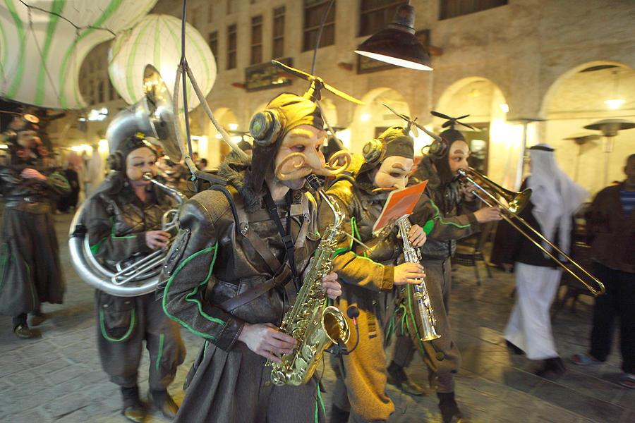 Band Photograph - Bizarre Street Band In Doha by Paul Cowan