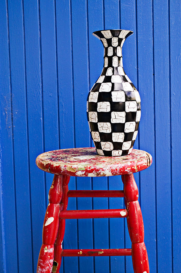Peachy Blach And White Vase On Stool Against Blue Wall Spiritservingveterans Wood Chair Design Ideas Spiritservingveteransorg