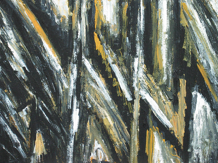 Abstract Expressionism Painting - Black Acute Angles by Kazuya Akimoto