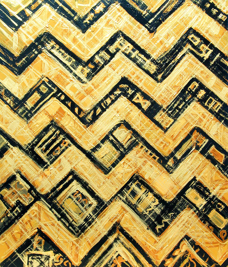 Black And Gold Japanese Angular Stripe Pattern Painting By Kazuya Extraordinary Angular Pattern