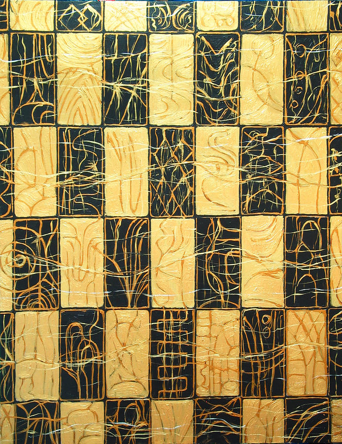 Abstract Expressionism Painting - Black And Gold Japanese Checkered Pattern by Kazuya Akimoto