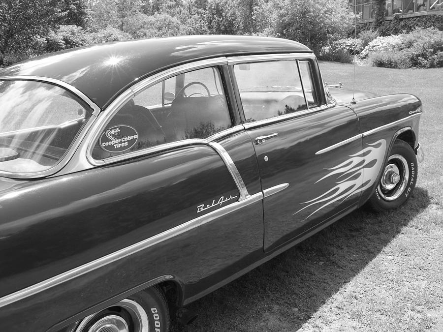 Black And White 1955 Chevy Belair Photograph By Sherman Perry