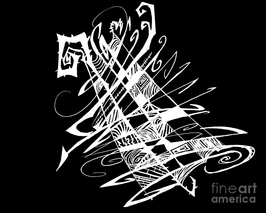 Drawing Drawing - Black And White And Abstract All Over by Stef Schultz Sorry Little Sharky