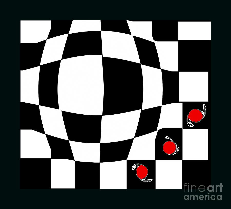 Abstract Art Red White Black