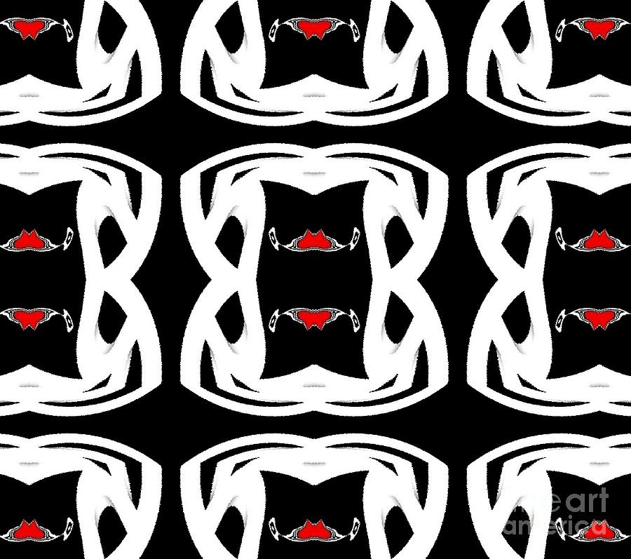 Digital Paintings Digital Art - Pattern Black White Red No.92. by Drinka Mercep