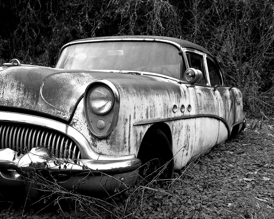 Buick Photograph - Black And White Buick by Steve McKinzie