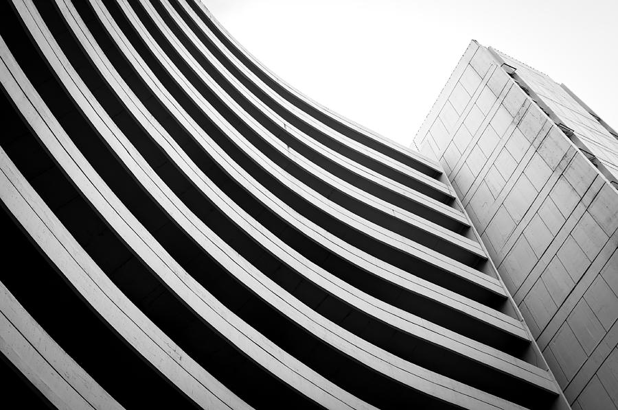 Angle Photograph - Black And White Building Curve Shape  by Kittipan Boonsopit