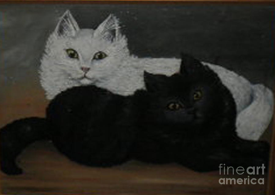 Black Cat Painting - Black And White Cats by Hilda Schreiber