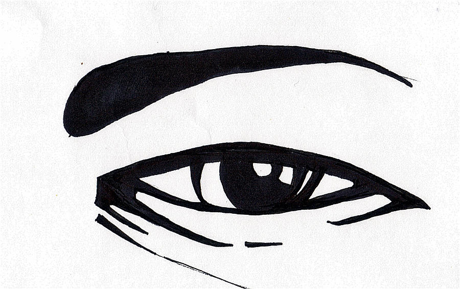 Black And White Drawing - Black And White Eye by Marc Chambers