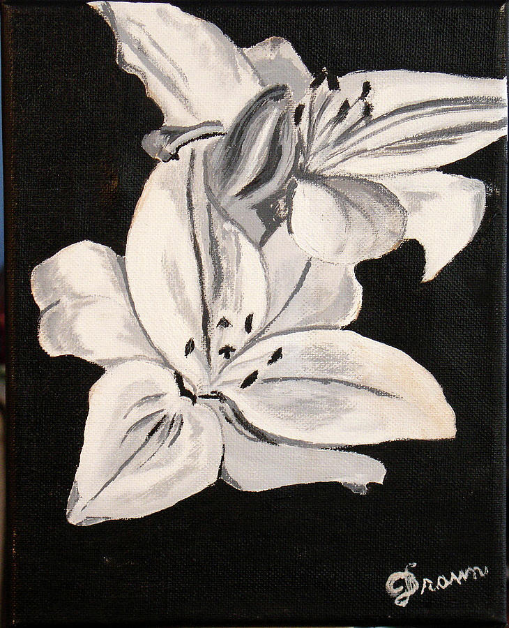 Black and white flower painting by burma brown black and white painting black and white flower by burma brown mightylinksfo Images