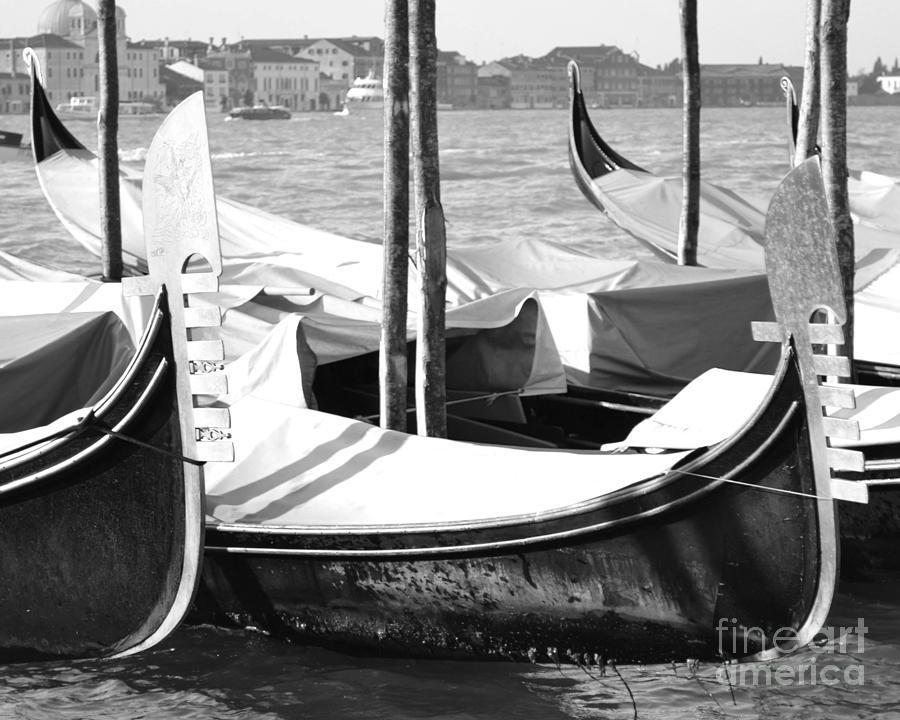 Gondolas Photograph - Black And White Gondolas Venice Italy by Rebecca Margraf