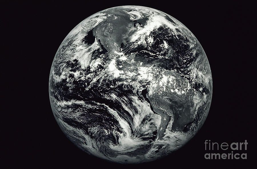 Horizontal Photograph - Black And White Image Of Earth by Stocktrek Images