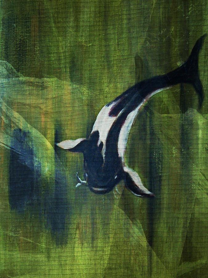 Koy Digital Art - Black and white koi II by Joseph Ferguson