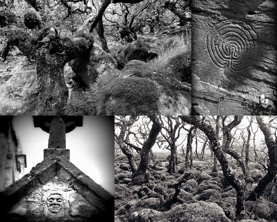 Devon photograph black and white mystical collage by rachel burch