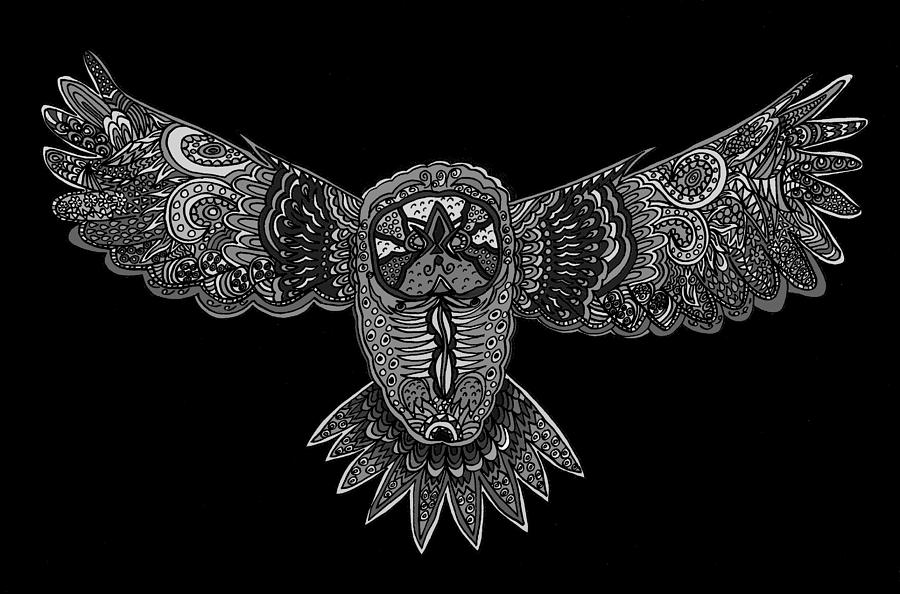 Nature drawing black and white owl by karen elzinga